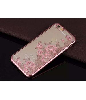 """Чехол со стразами """"Цветы"""" силиконовый для iPhone 6 Plus/6S Plus Rose Gold"""