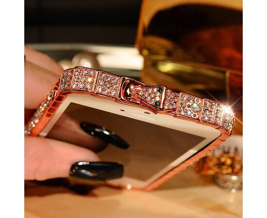 """Rose Gold алюминиевый бампер со стразами """"Королевский"""" для iPhone 5/5S/SE"""