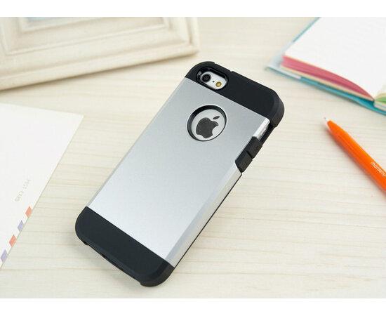 """Антиударный чехол """"Spigen"""" серебряный для iPhone 5/5S/SE"""