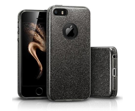 """Чехол с блестками """"Dazzling shine"""" силиконовый для iPhone 5/5S/SE черный"""