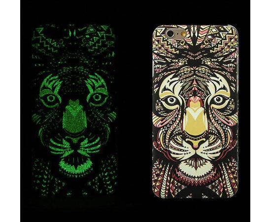 """Силиконовый светящийся 3D чехол """"Тигр"""" яркий для iPhone 6 Plus/6S Plus"""