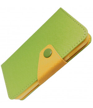 """Кожаный чехол-книжка """"Devia"""" Rainbow Flip зеленый для iPhone 5/5S/SE"""
