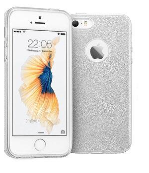 """Чехол с блестками """"Dazzling shine"""" силиконовый для iPhone 5/5S/SE серебряный"""