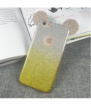"""Чехол с блестками """"Микки Маус"""" силиконовый для iPhone 5/5S/SE желтый градиент"""