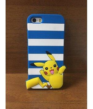 "Резиновый 3D чехол ""Pikachu"" синий для iPhone 5/5S/SE"