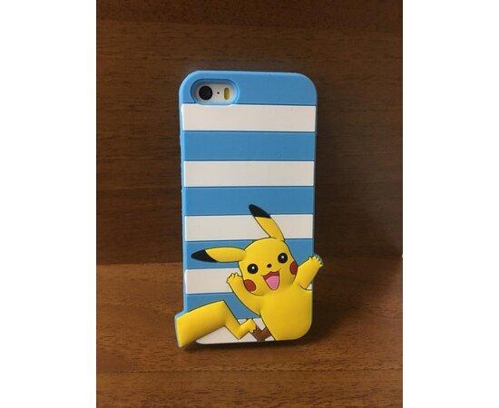 """Резиновый 3D чехол """"Pikachu"""" голубой для iPhone 5/5S/SE"""