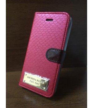 """Кожаный чехол-книжка """"Michael Kors"""" красный для iPhone 5/5S/SE"""