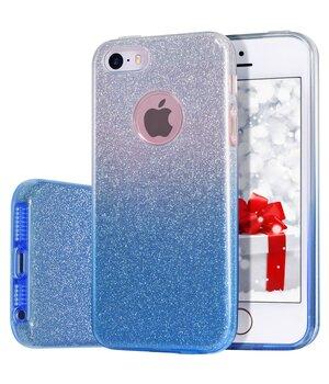 """Чехол с блестками """"Градиент"""" силиконовый для iPhone 5/5S/SE синий"""