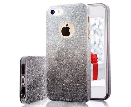 """Чехол с блестками """"Градиент"""" силиконовый для iPhone 5/5S/SE черный"""