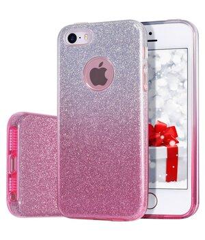 """Чехол с блестками """"Градиент"""" силиконовый для iPhone 5/5S/SE розовый"""