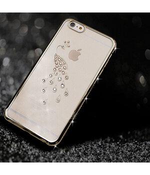 """Чехол со стразами """"Птица"""" силиконовый для iPhone 6 Plus/6S Plus серебряный"""