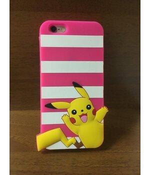 """Резиновый 3D чехол """"Pikachu"""" ярко-розовый для iPhone 6/6S"""