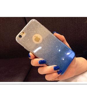 """Чехол с блестками """"Градиент"""" силиконовый для iPhone 6 Plus/6S Plus синий"""