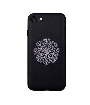 """Кожаный чехол """"Devia"""" Flower Embroidery черный для iPhone 7/8"""