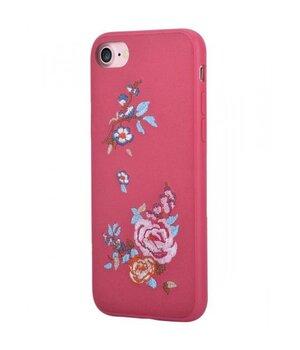 """Кожаный чехол """"Devia"""" Flowers Embroidery красный для iPhone 7/8"""