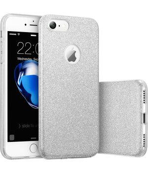 """Чехол с блестками """"Dazzling shine"""" силиконовый для iPhone 7/8 серебряный"""