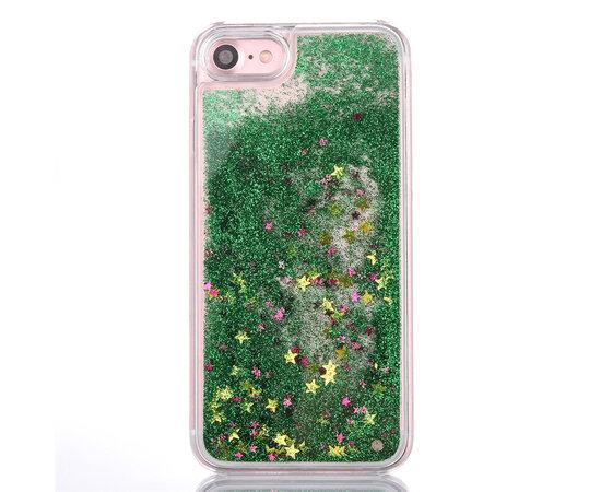 """Переливающийся пластиковый чехол """"Звездочки"""" зеленый для iPhone 7/8"""