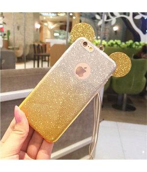 """Чехол с блестками """"Микки Маус"""" силиконовый для iPhone 6/6S желтый градиент"""