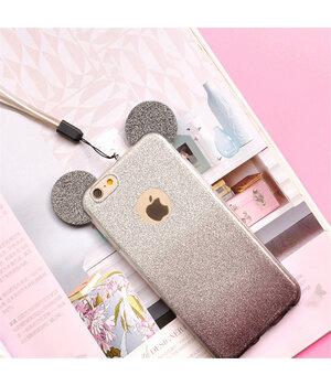 """Чехол с блестками """"Микки Маус"""" силиконовый для iPhone 6/6S черный градиент"""