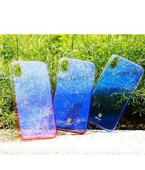 """Чехол """"Baseus"""" пластиковый для iPhone X/XS Glaze фиолетовый градиент"""