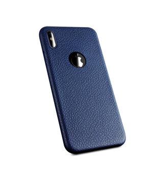 "Чехол ""Leather texture"" силиконовый для iPhone X/XS синий"