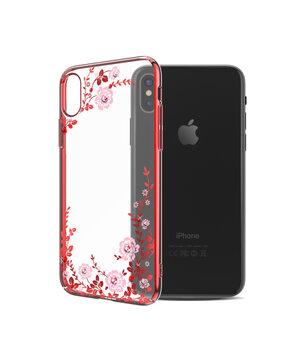 """Чехол со стразами SWAROVSKI """"Kingxbar"""" пластиковый для iPhone X/XS Flora красный"""