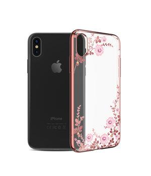 "Чехол со стразами SWAROVSKI ""Kingxbar"" пластиковый для iPhone X/XS Flora Rose Gold"