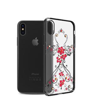 """Чехол со стразами SWAROVSKI """"Kingxbar"""" пластиковый для iPhone X/XS Flower dress черный"""