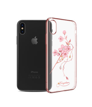 "Чехол со стразами SWAROVSKI ""Kingxbar"" пластиковый для iPhone X/XS Hairpin Rose Gold"
