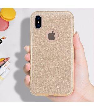 """Чехол с блестками """"Dazzling shine"""" силиконовый для iPhone X/XS золотой"""