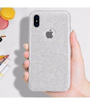"""Чехол с блестками """"Dazzling shine"""" силиконовый для iPhone X/XS серебряный"""