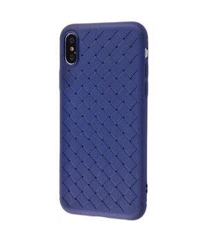 """Силиконовый чехол """"Weaving"""" синий для iPhone XS Max"""