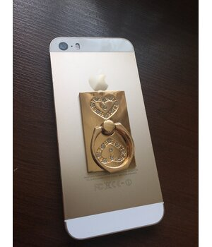 """Кольцо-держатель """"Сердечки"""" золотое для iPhone"""