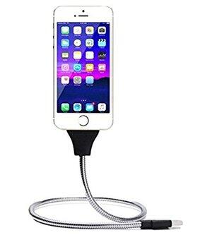 """Lightning USB кабель-держатель """"Flexible"""" серебряный 0.5m для iPhone/iPod/iPad"""