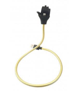 """Lightning USB кабель-держатель """"Flexible"""" золотой 0.5m для iPhone/iPod/iPad"""
