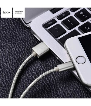 "Lightning USB кабель ""Hoco"" x2 серый 1m для iPhone/iPod/iPad"
