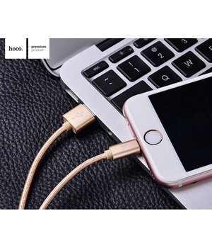 "Lightning USB кабель ""Hoco"" x2 золотой 1m для iPhone/iPod/iPad"