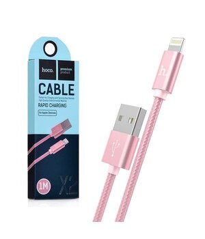 "Lightning USB кабель ""Hoco"" x2 Rose Gold 1m для iPhone/iPod/iPad"