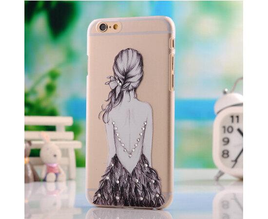 """Чехол """"Девушка"""" силиконовый для iPhone 5/5S/SE со стразами"""