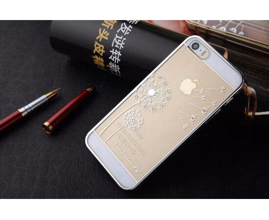"""Чехол """"Одуванчик"""" пластиковый для iPhone 5/5S/SE серебряный со стразами"""
