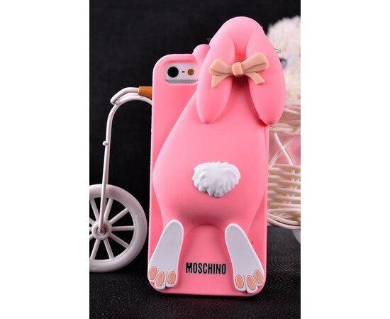 """Резиновый 3D чехол """"Moschino"""" розовый для iPhone 5/5S/SE"""