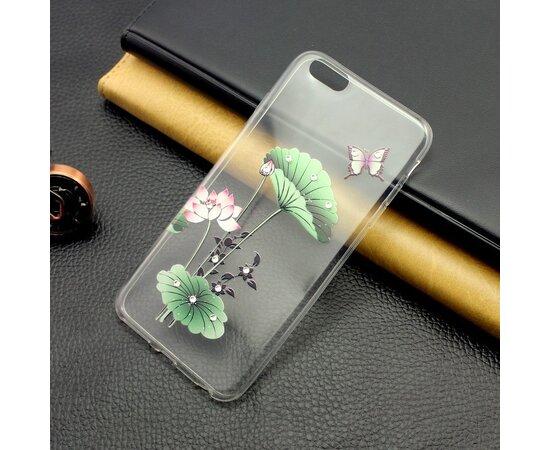 """Чехол со стразами """"Листок"""" силиконовый для iPhone 5/5S/SE"""