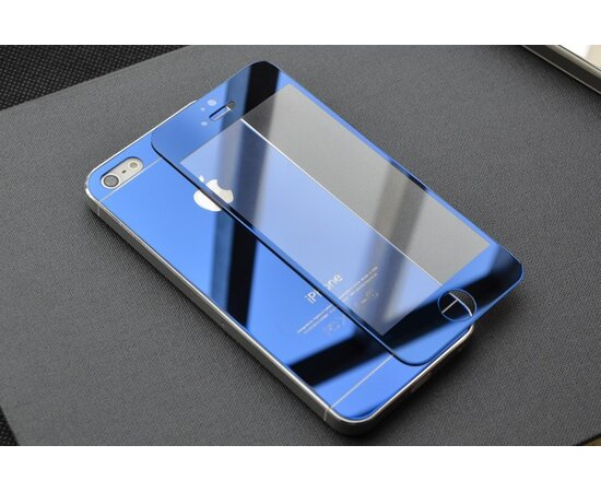 Переднее+заднее синее стекло для iPhone 5/5S/SE