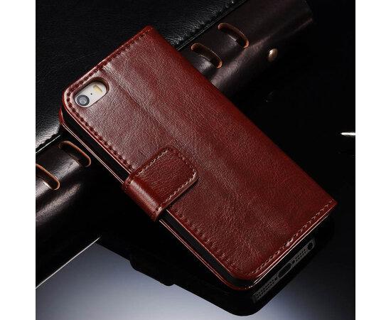Коричневый кожаный чехол-кошелек для iPhone 5/5S/SE