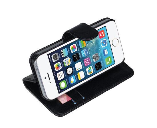 Черный кожаный чехол-книжка для iPhone 5/5S/SE