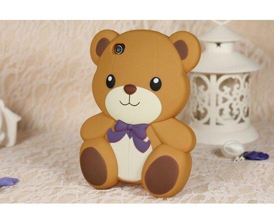 """Резиновый 3D чехол """"Мишка"""" коричневый для iPhone 5/5S/SE"""