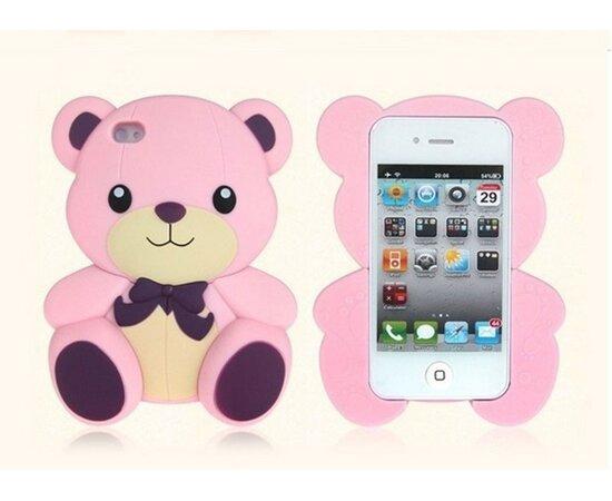 """Резиновый 3D чехол """"Мишка"""" розовый для iPhone 5/5S/SE"""