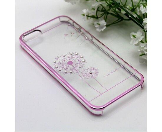 """Чехол """"Одуванчик"""" пластиковый для iPhone 5/5S/SE розовый со стразами"""
