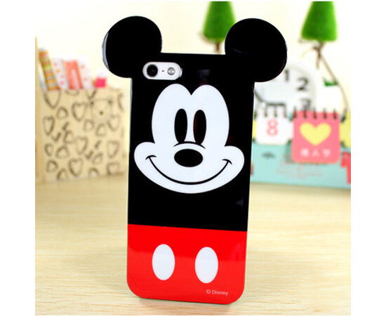 """Резиновый 3D чехол """"Микки Маус"""" черно-красный для iPhone 5/5S/SE"""