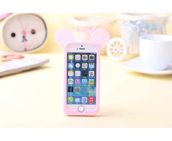 """Резиновый бампер """"Микки Маус"""" бледно-розовый для iPhone 5/5S/SE"""